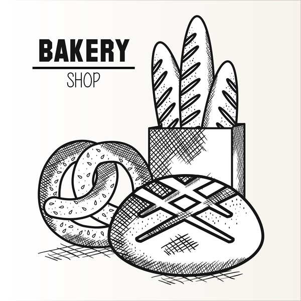 bakey shop hand drawn vector design 02