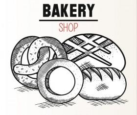 bakey shop hand drawn vector design 03