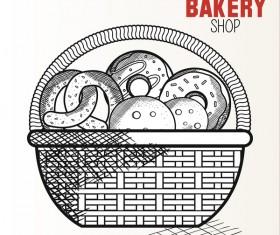bakey shop hand drawn vector design 04