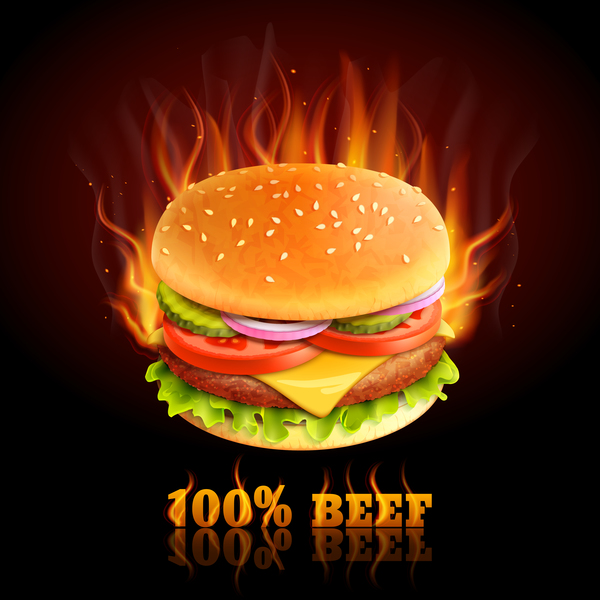 beef burger poster vector