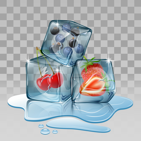 berry with ice cubes illustration vector 01