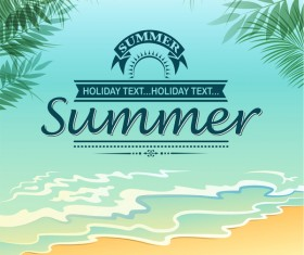 blank beach scenic summer poster vector