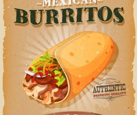 burrito snack poster and barbecue retro vector