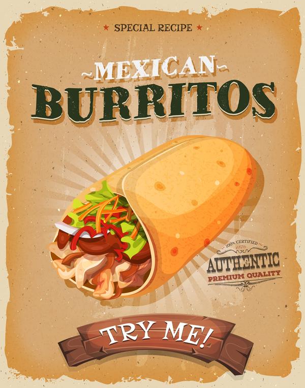 burrito snack poster and barbecue retro vector