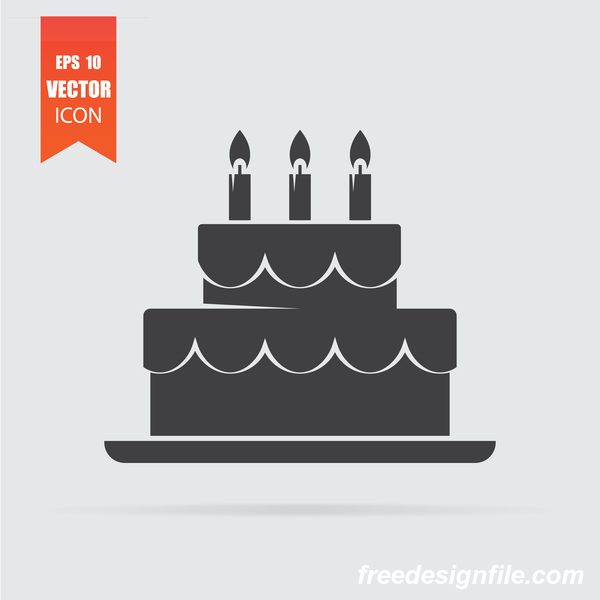 Cake icon in flat style isolated on grey background.