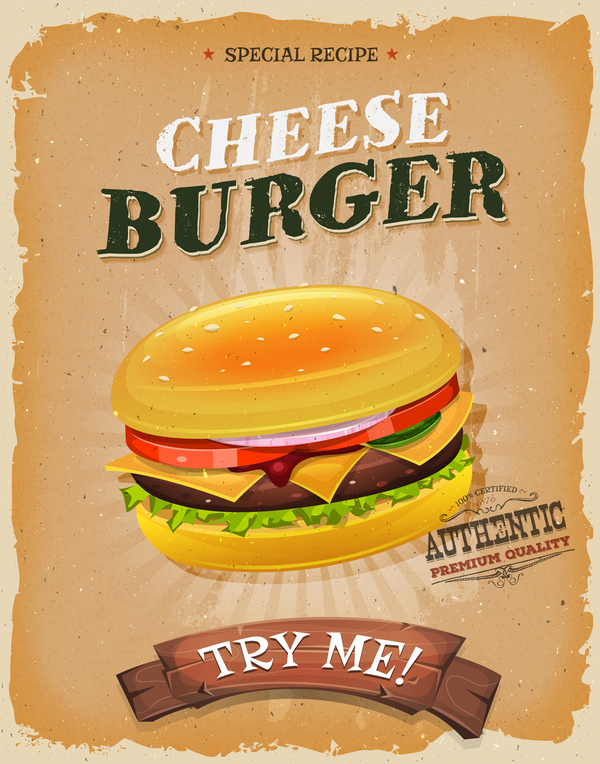 cartoon funny snack poster burger vector