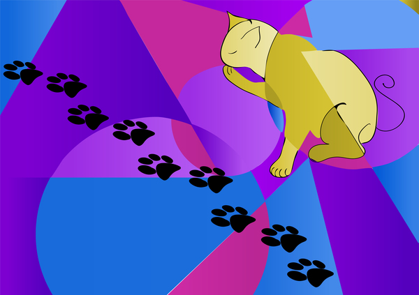 cat and his traces background vector