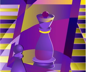 chess pawn and queen background vector