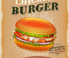 chicken burger snack poster and barbecue retro vector