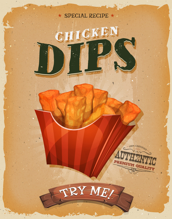 chicken dips snack poster and barbecue retro vector