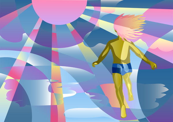 child and sun background vector