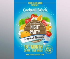 cocktail tropical party poster vector