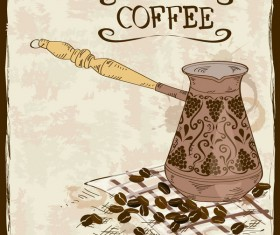 coffee poster retro hand drawn vector 03