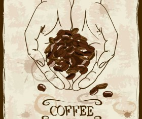 coffee poster retro hand drawn vector 04