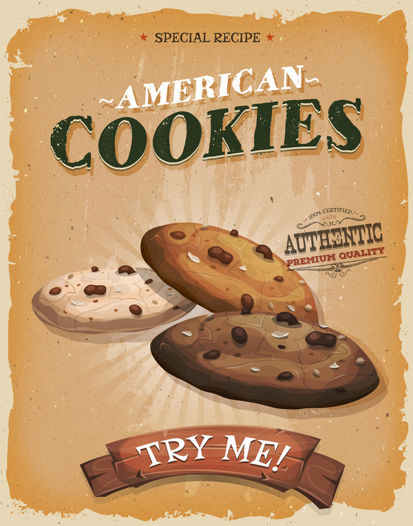 cookies poster and flyer retro vector