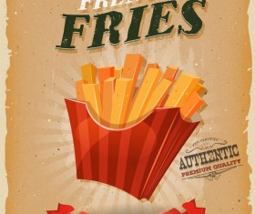 french fries poster and flyer retro vector