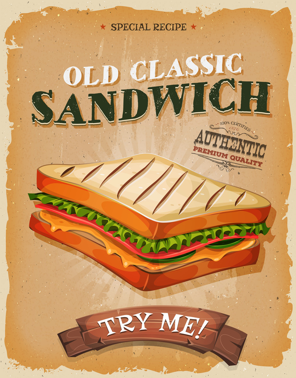 french sandwich poster and flyer retro vector