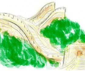great wall of china hand drawn vector material