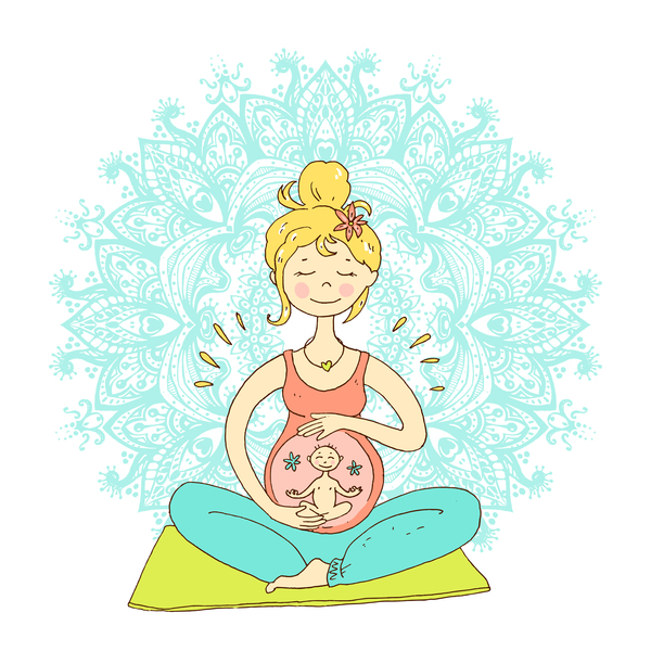 hand drawn yoga illustration vector material 01
