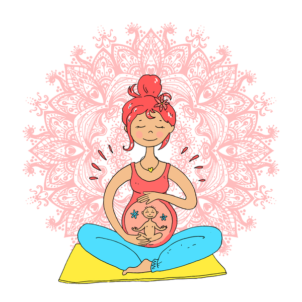 hand drawn yoga illustration vector material 02