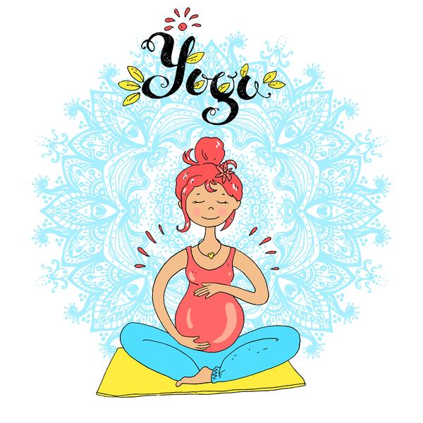 hand drawn yoga illustration vector material 03