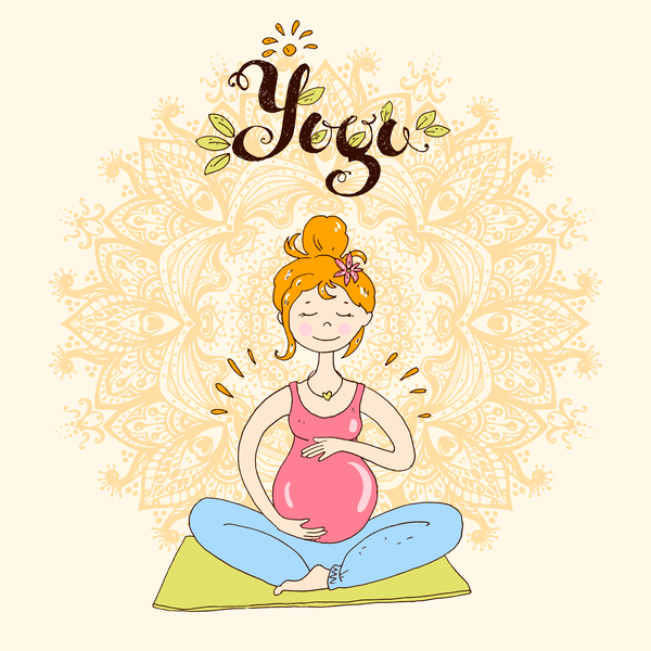 hand drawn yoga illustration vector material 04