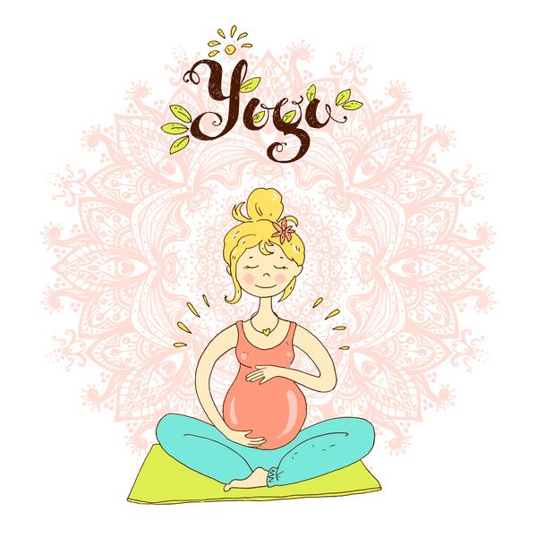 hand drawn yoga illustration vector material 05