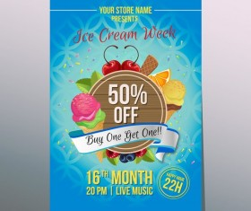 happy ice cream poster vector