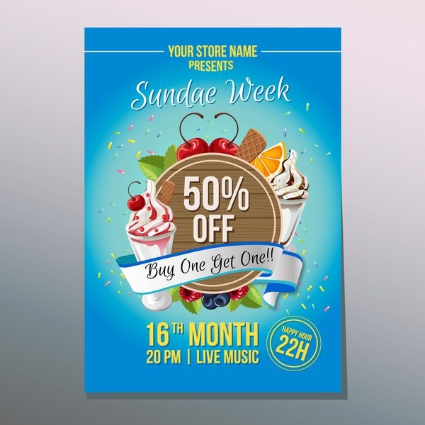 happy sundae poster vector