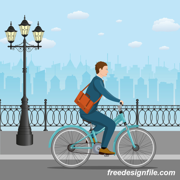 healthy lifestyle by bicycle with city streets vector 01