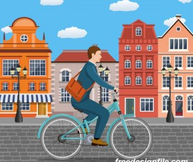 healthy lifestyle by bicycle with city streets vector 02