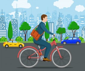healthy lifestyle by bicycle with city streets vector 03