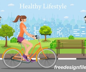 healthy lifestyle by bicycle with city streets vector 04