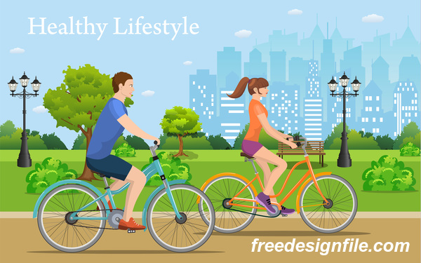 healthy lifestyle by bicycle with city streets vector 05