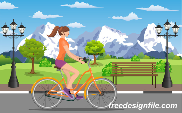 healthy lifestyle by bicycle with city streets vector 06