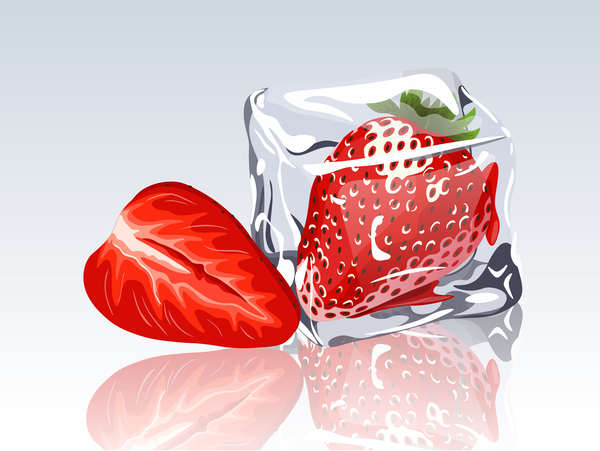 ice cubes and strawberry design vector