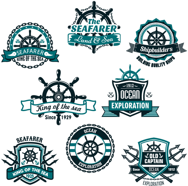 king of the sea labels vector set