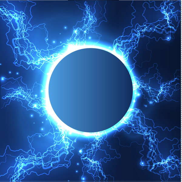 lightning with round frame vector background