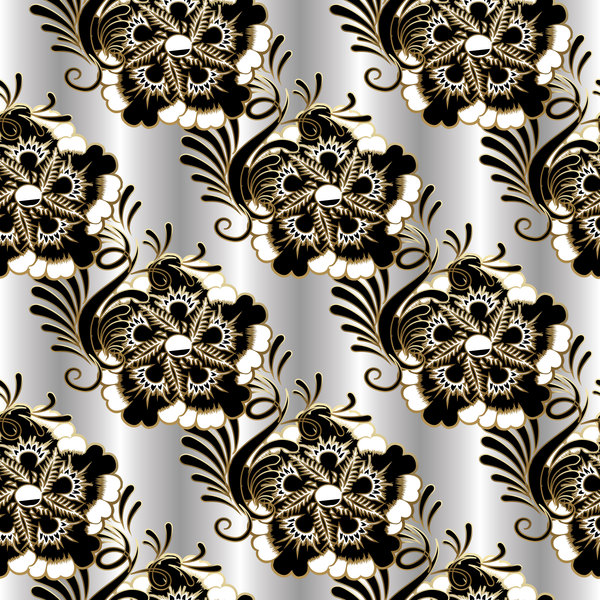 luxury floral black with white vectors seamless pattern