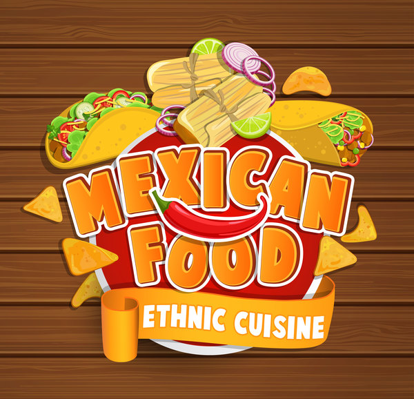 mexican food sticker vector