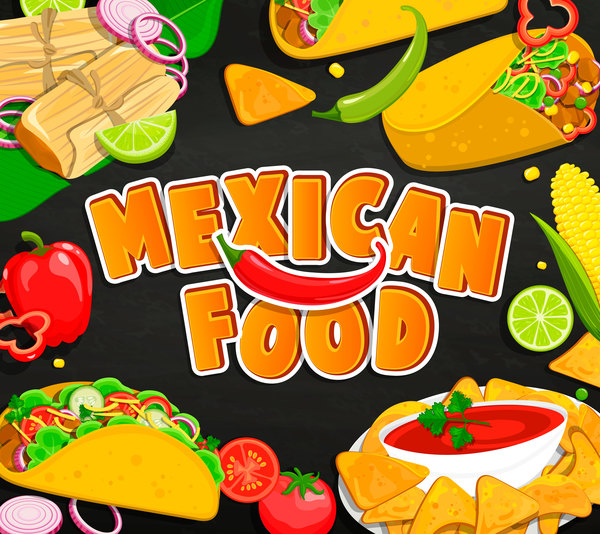 mexican food with black background vector