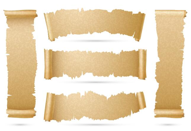 parchment scrolls banner vector free download