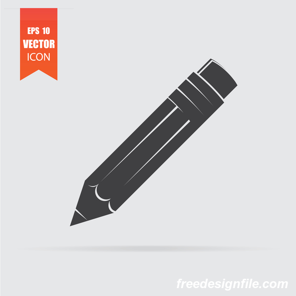 Pencil icon in flat style isolated on grey background.
