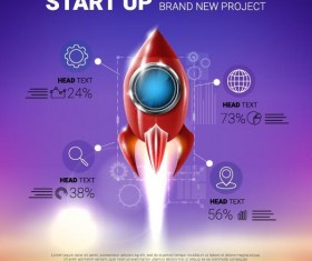 rocket start up infographic vector