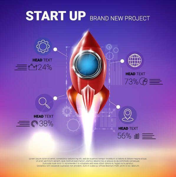 rocket start up infographic vector