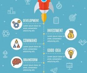 rocket start up timeline infographic vector