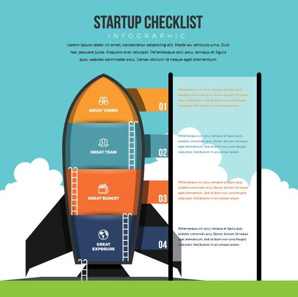 start up checklist infographic vector
