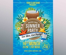 summer coconut party poster vector