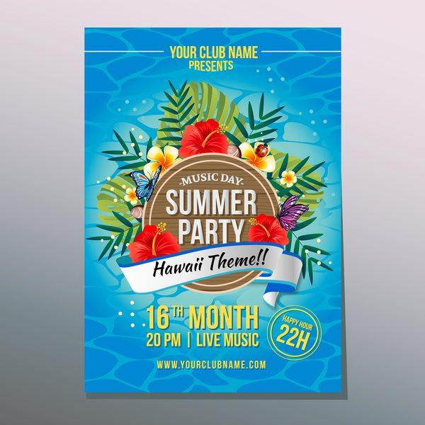summer hawaii party poster vector