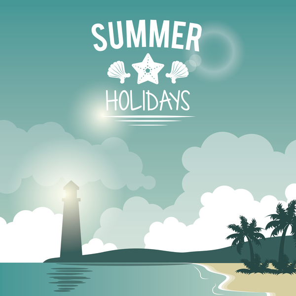 summer holiday time tropical travel poster vector 02